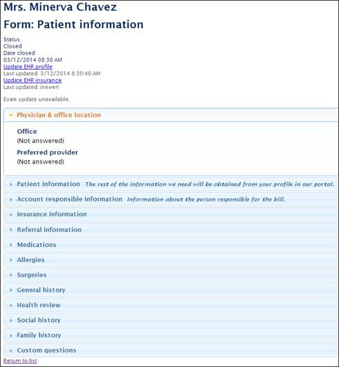 Forms in the form above ms chavez our sample patient has completed the following sections patient information account responsible information altavistaventures Choice Image